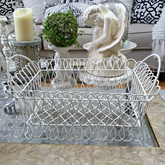 SHABBY Vintage WIRE Chic LARGE METAL Basket